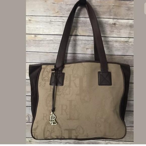 6f5a92af1d35 Lauren Ralph Lauren Handbags - Lauren Ralph Lauren Canvas Suede Tote  Equestrian